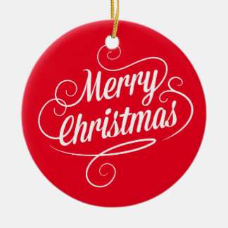 Ornamento del círculo con el texto alegre de las adorno navideño redondo de cerámica