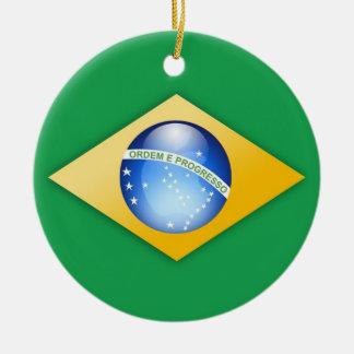 Ornamento del círculo de la bandera del Brasil Adorno De Navidad