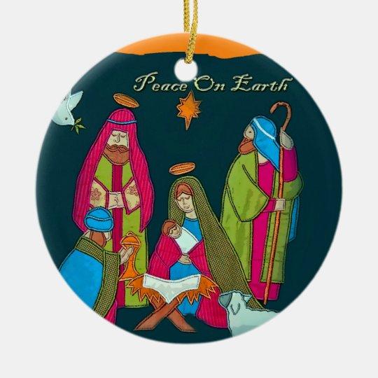 Ornamento del círculo de la escena de la natividad adorno navideño redondo de cerámica