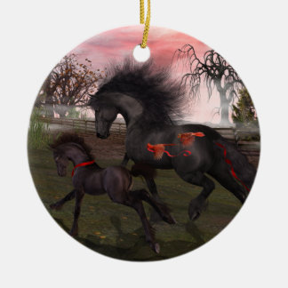 Ornamento del círculo de los caballos del navidad adorno navideño redondo de cerámica