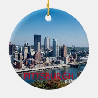 Ornamento del círculo de Pittsburgh Pennsylvania Adorno Navideño Redondo De Cerámica