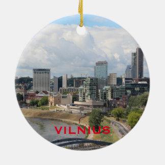 Ornamento del círculo de Vilna Lituania Adorno Navideño Redondo De Cerámica