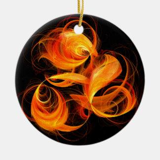Ornamento del círculo del arte abstracto de la adorno navideño redondo de cerámica