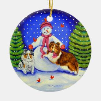 Ornamento del círculo del perro pastor de Shetland Adorno Navideño Redondo De Cerámica