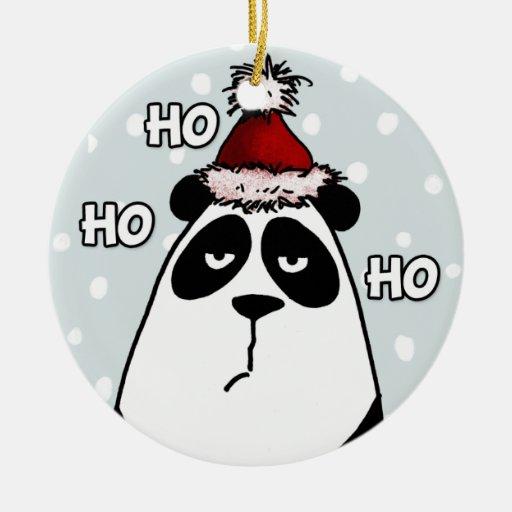 ornamento del cirle - ho ho panda adorno navideño redondo de cerámica