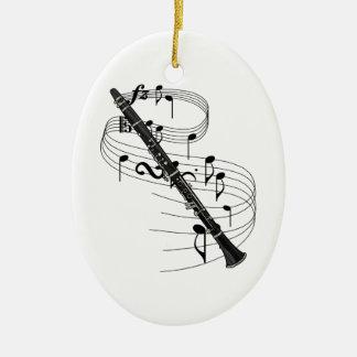 Ornamento del Clarinet Adorno Navideño Ovalado De Cerámica
