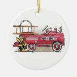Ornamento del coche del pedal del coche de bombero adornos de navidad