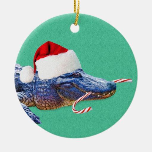 Ornamento del cocodrilo del navidad adorno navideño redondo de cerámica