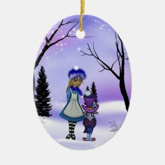 Ornamento del colector del país de las maravillas adorno navideño ovalado de cerámica