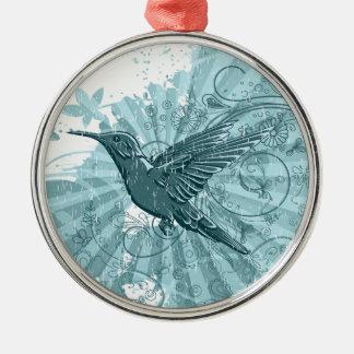 Ornamento del colibrí adorno redondo plateado