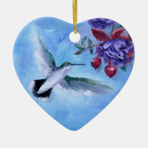 Ornamento del colibrí en vuelo ornamento para arbol de navidad