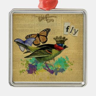 Ornamento del collage del pájaro del vintage adorno navideño cuadrado de metal