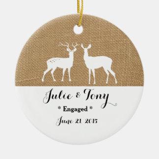 Ornamento del compromiso del regalo del compromiso adorno navideño redondo de cerámica