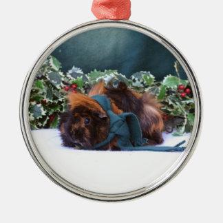 Ornamento del conejillo de Indias del navidad Adorno Navideño Redondo De Metal