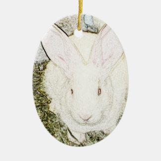 Ornamento del conejito de junio adorno navideño ovalado de cerámica