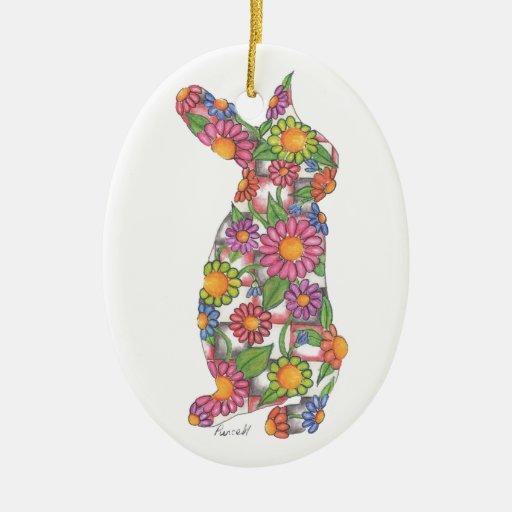 Ornamento del conejito del país de las maravillas adorno navideño ovalado de cerámica