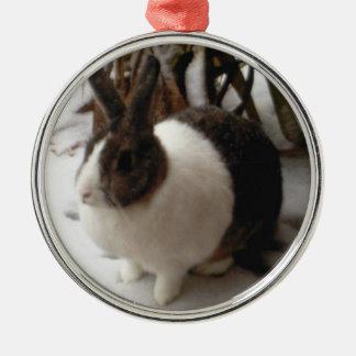 Ornamento del conejo adorno navideño redondo de metal