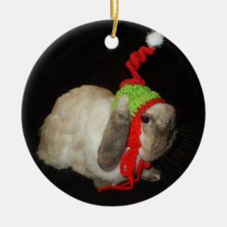 Ornamento del conejo del navidad adorno navideño redondo de cerámica