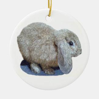Ornamento del conejo del oído de Holanda Lop Adorno Navideño Redondo De Cerámica