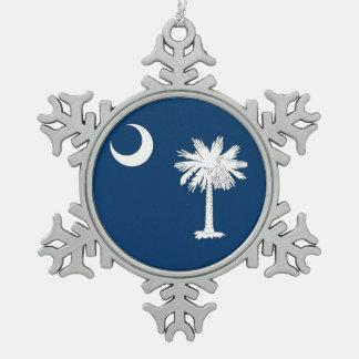 Ornamento del copo de nieve con la bandera de adorno de peltre en forma de copo de nieve