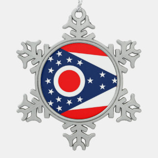 Ornamento del copo de nieve con la bandera de Ohio Adornos