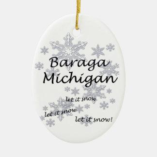 Ornamento del copo de nieve de Baraga Michigan Ornamento Para Reyes Magos
