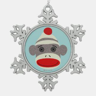 Ornamento del copo de nieve de la cara del mono adorno de peltre en forma de copo de nieve