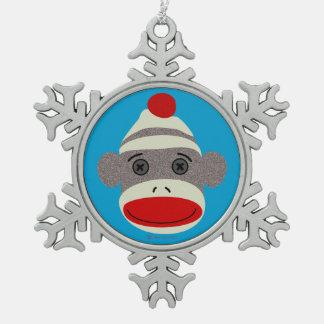 Ornamento del copo de nieve de la cara del mono de adornos