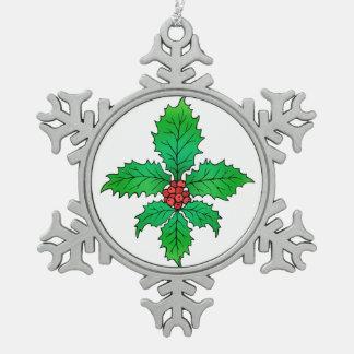 Ornamento del copo de nieve de la flor de lis del adorno de peltre en forma de copo de nieve