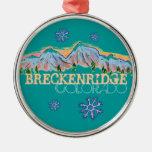 Ornamento del copo de nieve de la montaña de adorno navideño redondo de metal