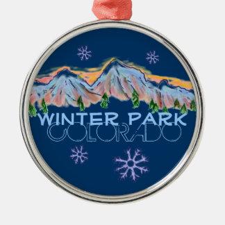 Ornamento del copo de nieve de la montaña de adorno redondo plateado
