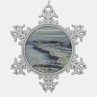 Ornamento del copo de nieve de la playa de la adorno de peltre en forma de copo de nieve