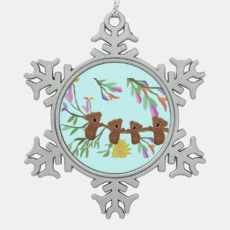 Ornamento del copo de nieve de las koalas del bebé adorno de peltre en forma de copo de nieve