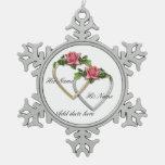 Ornamento del copo de nieve de los corazones de lo adorno