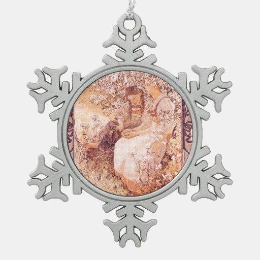 Ornamento del copo de nieve de Nouveau Mucha del Adorno De Peltre En Forma De Copo De Nieve