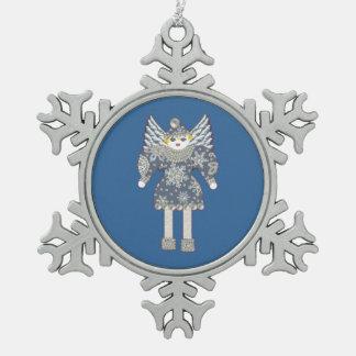 Ornamento del copo de nieve del ángel de la nieve adorno de peltre en forma de copo de nieve