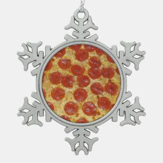 Ornamento del copo de nieve del estaño de la pizza adorno de peltre en forma de copo de nieve
