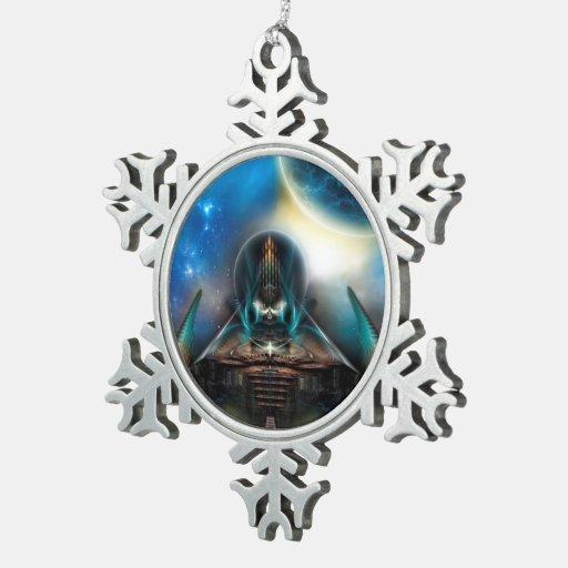 Ornamento del copo de nieve del estaño de Tamalin  Adorno