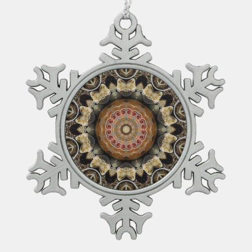 Ornamento del copo de nieve del estaño del fractal adorno de peltre en forma de copo de nieve