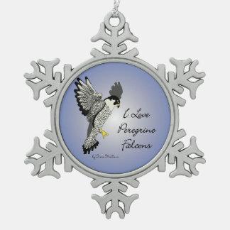 Ornamento del copo de nieve del estaño del halcón adorno de peltre en forma de copo de nieve