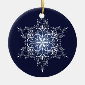 Ornamento del copo de nieve del invierno adorno redondo de cerámica