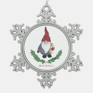 Ornamento del copo de nieve del navidad de Tomten Adorno De Peltre En Forma De Copo De Nieve