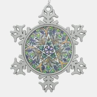 Ornamento del copo de nieve del pentáculo de la adorno de peltre en forma de copo de nieve