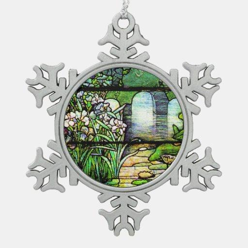 Ornamento del copo de nieve del vitral de Tiffany Adorno De Peltre En Forma De Copo De Nieve