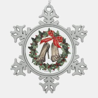 Ornamento del copo de nieve del zapato del adorno de peltre en forma de copo de nieve