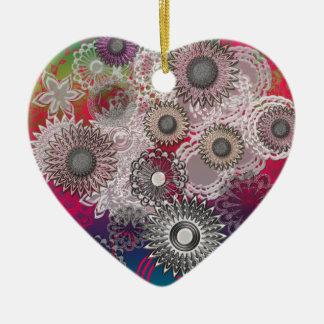 Ornamento del corazón adorno navideño de cerámica en forma de corazón