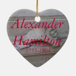 Ornamento del corazón de Alexander Hamilton Adorno De Cerámica En Forma De Corazón