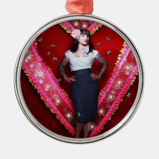 Ornamento del corazón de Hannah Adorno Navideño Redondo De Metal