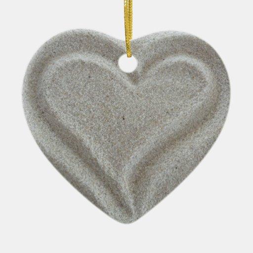 Ornamento del corazón de la arena adorno de cerámica en forma de corazón