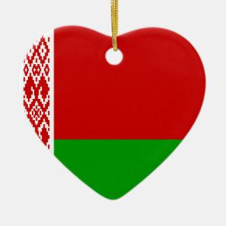 Ornamento del corazón de la bandera de Bielorrusia Adorno Navideño De Cerámica En Forma De Corazón